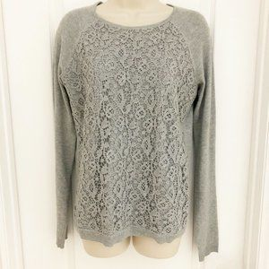 Elle Sweater Lace Overlay Gray S